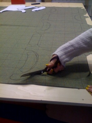 Cutting the Thronproof fabric for our dog coat