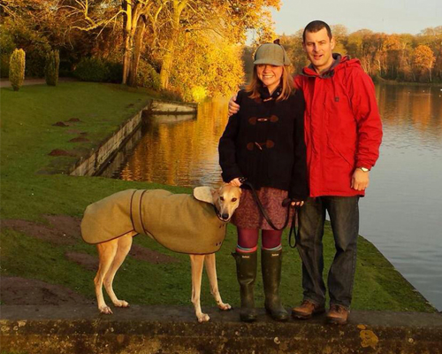Buster in his new LMD coat with his humans Rev Kate & Graham