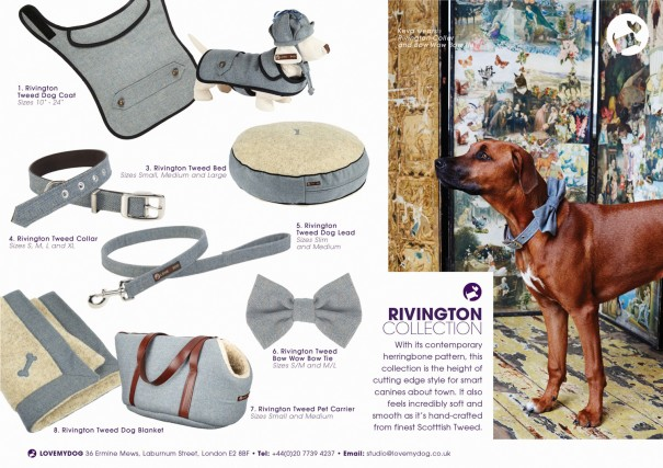 With its contemporary herringbone pattern, the Rivington Collection is the height of cutting edge style for smart canines about town. It also feels incredibly soft and smooth as it's hand-crafted from finest Scotttish Tweed. The Rivington collection includes a dog collar, lead and coat, and it's also used as a lining on the Elwin waxed cotton dog raincoat.
